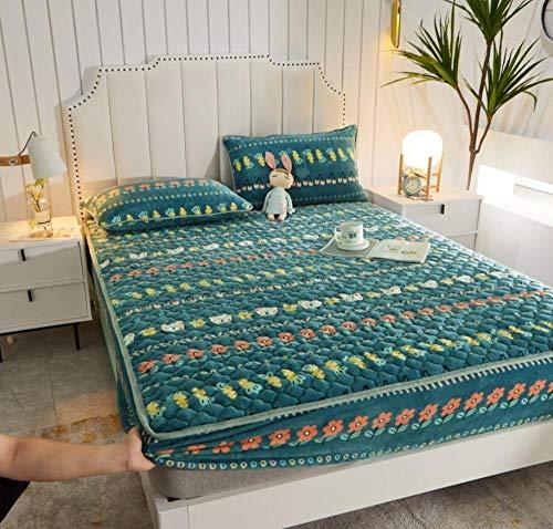 XLMHZP Funda de colchón King, sábana acolchada de franela, cálida y gruesa para colchón de forro polar coral de invierno King-K 180 x 200 cm + 30 cm