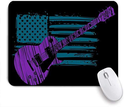 Dekoratives Gaming-Mauspad,Gitarren- und Flaggenthema Lila Gitarre mit blauer amerikanischer Flagge,Bürocomputer-Mausmatte mit rutschfester Gummibasis