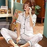 SDCVRE Conjunto de pijama Conjunto de 2 piezas de pijama de satén de seda de imitación para mujer, ropa de dormir de primavera, pantalones largos de manga corta, ropa de dormir, pijama, traje de ca