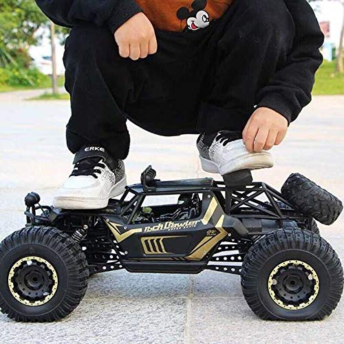 Kikioo 1:10 High Speed ​​Off Road Monster Truck Todo Terreno Carreras Gigante 2.4 Ghz Radio Control Remoto RC Hobby Eléctrico Rastreador de Rock Rápido Pies Grandes Aleación 4WD Drifting Carros Escala