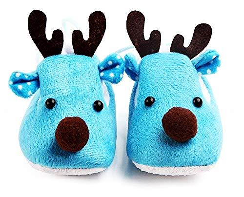 Zapatos para niños - bebés - Zapatos Antideslizantes - Renos - Muy Caliente - niño - niña - Unisex - Azul Claro - Talla 19 EU - 6/12 Meses - Idea de Regalo de cumpleaños