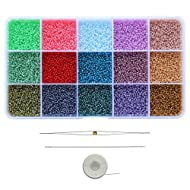 Bala&Fillic Size Almost Uniform 1.8mm Glass Seed Beads with Beading Needles and String About 15000pcs in Box Jade Color Seed Beads for Jewelry Making (About 1000pcs/Color, 15 Colors)