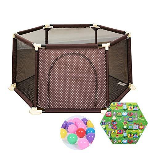 QULONG Corralito Extra Grande con colchón para niños pequeños de 200 Bolas con Puerta con Cremallera Valla Hexagonal anticolisión marrón para bebés Regalos del día de la Madre para mamá y bebé