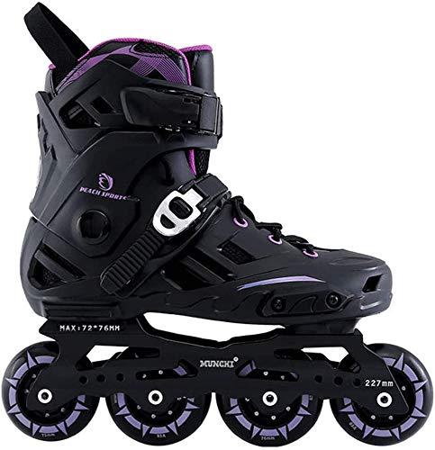 MUZIDP Patines de Rodillos al Aire Libre Patines de Rodillos en línea Profesionales Adultos Skate Roller Hockey, Negro Púrpura, 41EU (Color : Black Purple, Size : 40EU)