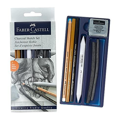 Faber-Castell 114002 - Kohle Sketch Set Goldfaber, 7 teilig