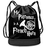 90ioup My Patronus Is A French Horn - Mochila con cordón para el hombro