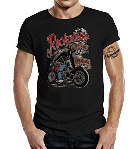 Gasoline Bandit Rockabilly Camiseta Original Diseno: Rockabilly Lives Forever! M