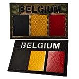 Belgio riflettente bandiera IR Patch militare tattico Morale Patch Europa Badge emblema applique patch ferro da stiro cucire vestiti accessori zaino con gancio & Loop nero Camo