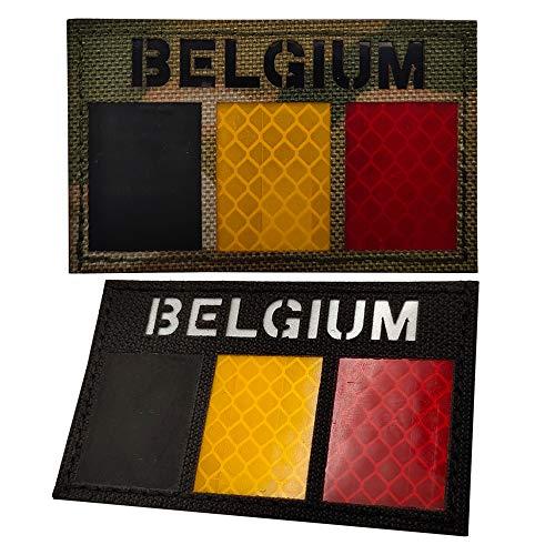 Aufnäher mit Belgien, reflektierender IR-Flagge, Militär, taktischer Moral, Patch mit europäischem Emblem, Aufnäher zum Aufbügeln auf Kleidung, Rucksack, Zubehör mit Klettverschluss, Schwarz Camo