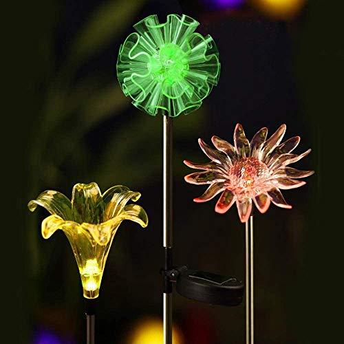 Juego de 3 luces solares para jardín al aire libre [juego de 3] Diente de león y lirio y girasol, cambio de color para patio, césped, Halloween, Navidad