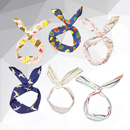 Lurrose Haarband mit Kaninchenohren, Eisen und Schleife, verschiedene Haar-Accessoires für Frauen und Mädchen, 6 Stück