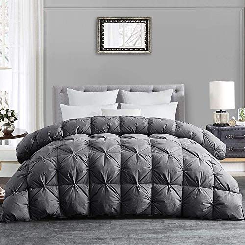 HOMBYS All-Season Goose Down Comforter Queen Size Duvet Insert Feather Hypo-allergenic Grey Pinch Pleat 100% Cotton Cover Down Proof with Corner Tabs Premium Baffle Box Design--Queen Down Comforter
