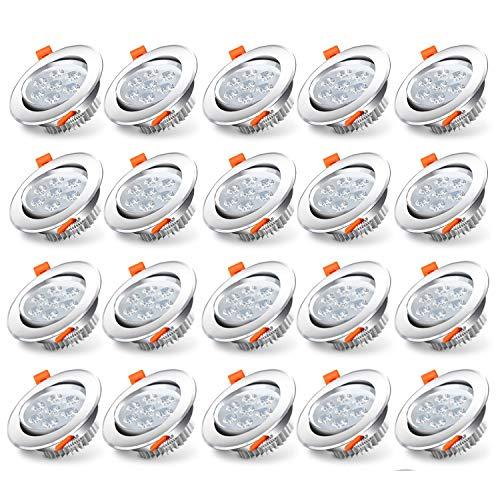 Hengda Foco Empotrable LED Techo 7W IP44 Downlight Luz de Techo equivalente a incandescente 50W Blanco frío 6500K 560Lm bombilla LED para salón dormitorio