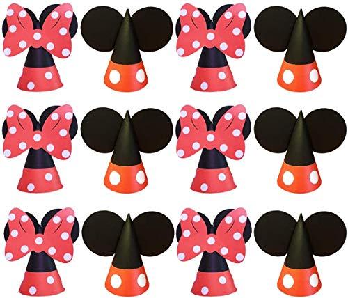 Sombrero de Fiesta de Cumpleaños de 12 Piezas, Sombrero de Fiesta de Papel Cónico de Mickey Minnie, Sdecuado para Sdultos y Niños, Suministros para Fiestas, Suministros para Fotos