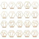 PandaHall Números de mesa de madera, 1 – 20 números de mesa de boda con base de soporte, soporte de mesa de fiesta con forma hexagonal, perfecto para bodas, fiestas, eventos o decoración de catering