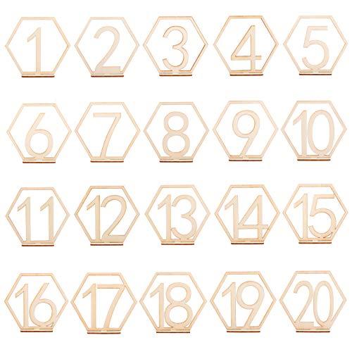 PandaHall Numeri da Tavolo in Legno, 1-20 Numeri da Tavolo per Matrimoni con Base di Supporto, Supporto da Tavolo Esagonale per Carte da Festa per Decorazioni per Matrimoni, Feste, Eventi o Catering