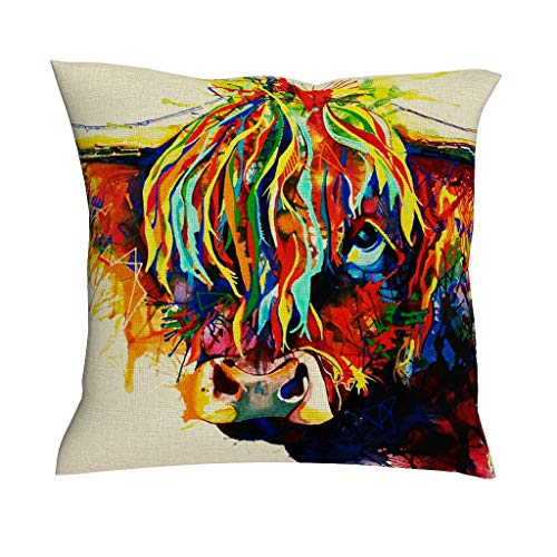 HoodBA Decorative Throw Pillow Covers Abstract Colorful Wild Yak Painting Highland Cow Animal Artwork Print Cotton Linen Zippered Pillowcase Retro Cushion Case for Sofa Couch Car Club white 18x18inch