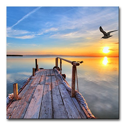 My Easy Art- Lake under Sunset Wall Art Decor Bird flying Over the Pier in Tropical Island Canvas Pictures Artwork Nature Nautical Landscape 24x24 inch Painting Prints for Home Bathroom