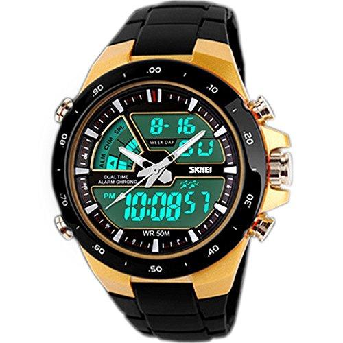 SunJas Reloj Pulsera Deportivo para Hombres Color Oro Resistente a Agua de 50m Digital con Luces Banda Desmontable de Multifunciones para Deportes Exteriores