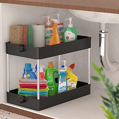 Space KEEPER - Organizador para debajo del fregadero, organizador de almacenamiento debajo del fregadero, estante de pie para baño,...