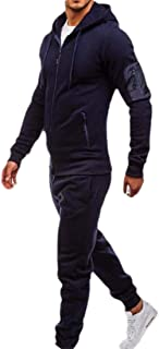 Mens Long Sleeve Jogging Zipper Hoodie Tracksuit Sport Set Casual Comfy Sweatsuits with Pockets