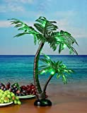 LIGHTSHARE 24Inch Twins Palm Tree Bonsai 25LED Lights,Green Light,Battery Powered or Plug-in Adapter (Included), Built-in Timer