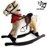BAKAJI Cavallo a Dondolo per Bambini con Suoni Realistici Nitrisce e Muove la Bocca Struttura in Legno e Tessuto Peluche di qualità Giochi Infanzia (Beige)