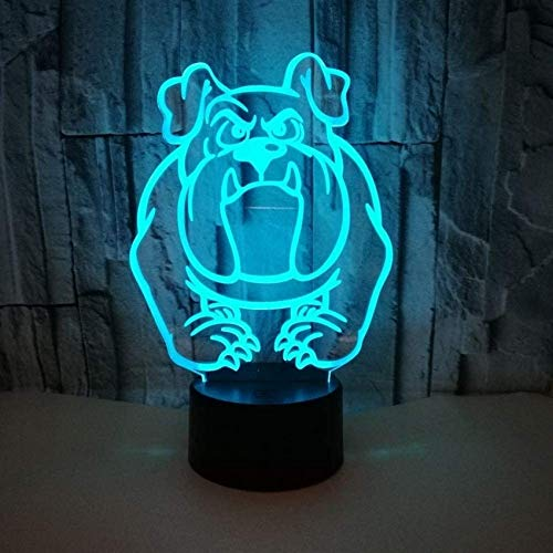QTWW ZLDDE Creative 3D Dog LED Illusion Lamp Night Light, Optical Bedside Table Lights 7 Colour Changing Touch Button USB Cable Decoration Desk Lamps For Bedside Lamp (Color : Black base)
