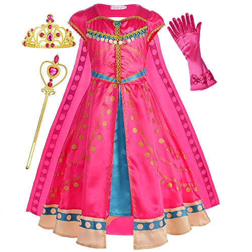 Princess Jasmine Costume Dress Up Clothes Fancy Arabian Outfit Attire with Cape Tiara Wand Gloves Accessories Set for Little Toddler Girls Kids Halloween Cosplay Birthday Party Size 6-7 Years