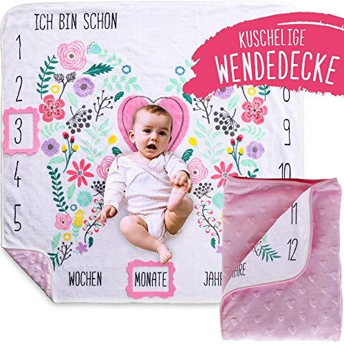 Rosa Baby Meilenstein Decke mit Blumen Flügeln Öko Tex Zertifiziert als Geschenk zur Geburt