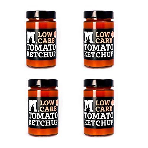 Low Carb Tomato Ketchup - Senza Aggiunta Di Zuccheri - 4 x 250 g - Prodotto Artigianale Italiano