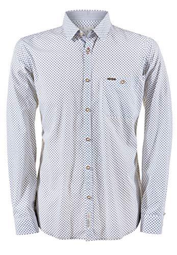 Stockerpoint Herren Hemd Jamie Trachtenhemd, Mehrfarbig (Weiss-Grün Weiss-Grün), Medium (Herstellergröße: M)
