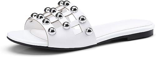 JIANXIN JIANXIN Balles en Métal Creux Mode Sauvage Tongs Pantoufles en Cuir en Plein Air Sortie Féminine Pieds à Talons Bas été (Couleur   Blanc, Taille   EU 35 US 5 UK 3 JP 22.5cm)