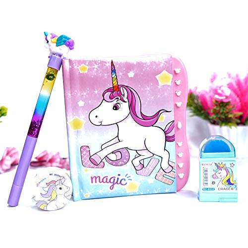 Relia (Pack of 4) Unicorn Password Lock Diary for Girls / Unicorn Pen, Sharpener and Eraser Password Secret Diary for Kids / Lock Diary for Girls / Diary with Password