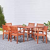 Vifah Malibu Outdoor 7-Piece Wood Patio Dining Set with Stacking Chairs