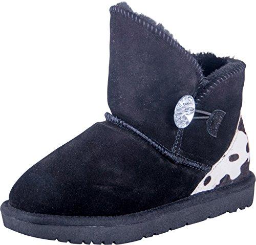 Almwerk Damen Winter-Stiefel Boots Kurzschaft aus Echtleder warm gefüttert mit Fell in braun und schwarz, Größe:36, Farbe:Schwarz