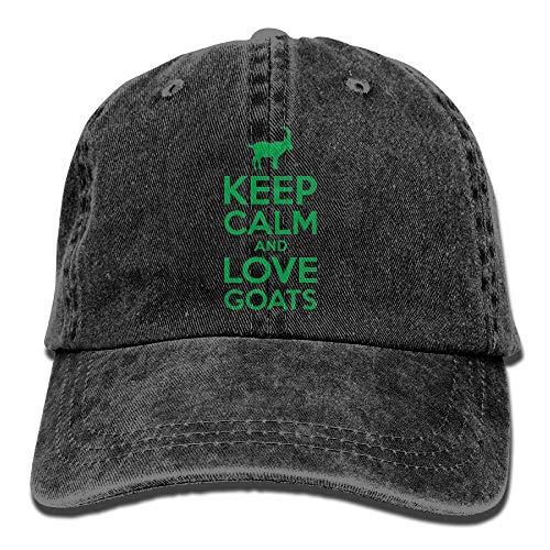 Gorra de béisbol para hombre y mujer, con texto en inglés 'Keep Calm Love Goats 2-2' unisex de algodón ajustable