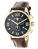 Swiss Legend 22011-YG-01-BRN Herren-Armbanduhr, Analog, Schweizer Quarzuhr, schwarzes Zifferblatt und goldfarbenes Edelstahlgehäuse mit braunem Lederband