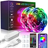USB 5050 LED Light Strips 32.8ft, 16 Million Colors Changing, Built-in Mic Music Mode, Smart Circuit Protection Lights Strip with 3 Controller Options(APP+44key Remote+Control Box)