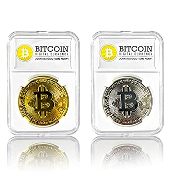 2PCS Bitcoin Coin,Bitcoin Gift Set with Display Item Case and Box Cryptocurrency in Protective Collectable Gift,Home Room Office Decoration Collector s Set  Golden+Silvery
