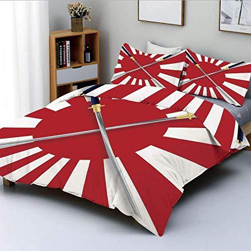 Juego de funda nórdica, bandera japonesa inspirada en el sol naciente, diseño de dos espadas de guerrero nacional simbólico largo, juego de cama decorativo de 3 piezas con 2 fundas de almohada, rojo b