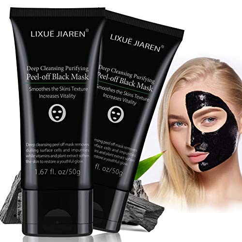 Blackhead Remover Mask, 2 Pack Peel Off Blackhead Mask, Pufifying Black Mask - Deep Cleansing Facial Mask for Face & Nose Charcoal Face Mask for Pore Shrinking, Acne and Oil Control All Skin Types 50G