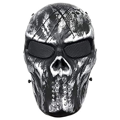 WT-YOGUET Skull Airsoft Paintball Mscara de cara completa para Halloween Cosplay CS Wargame Militar