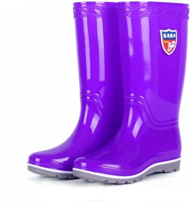 SIHUINIANHUA Frau Regen Stiefel Hoch Barrel Schuhe Regen Stiefel Überschuhe Schuhe, lila, 40 B07H8WDK9R  Zuverlässige Leistung