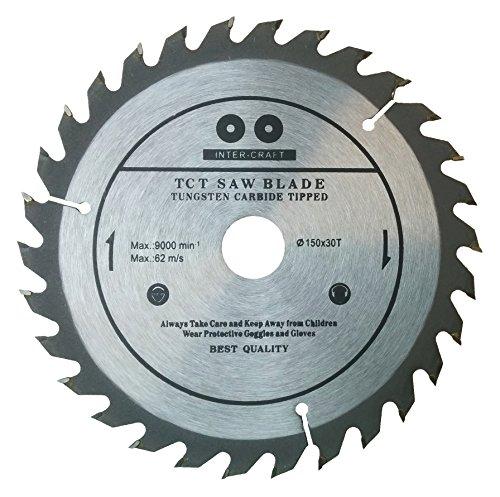 Inter-Craft - Lama da 150 mm per sega circolare da legno, 150 mm x 20 mm, 30 denti