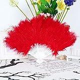 Abanico plegable de plumas para Halloween, suave y esponjosa, para boda, disfraz de baile, diseño de plumas y abanico plegable de mano para manualidades (color 03)