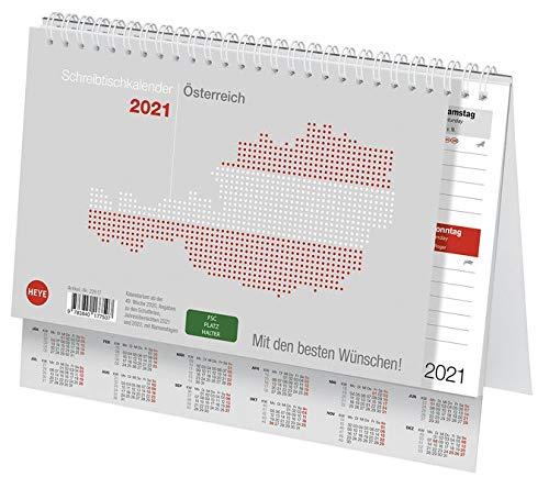 Schreibtischkalender 2021 Österreich klein - Splintenkalender mit Wochenkalendarium und Spiralbindung - Format 24 x 18 cm