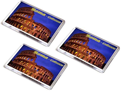 AWS Set 3 Magneti in PVC Roma Colosseo Italia Souvenir Gadget calamita Fridge Magnet Magnete da frigo in plastica con Immagine Fotografica Città City Rome