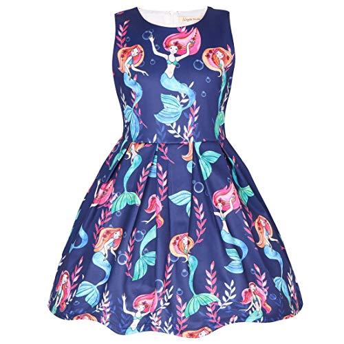 Coralup Vestido de Fiesta para niñas pequeñas, Manga Larga, patrón de Sirenas y Dinosaurios, Camisola Estampada, Color Azul Marino, 18 Meses a 7 años