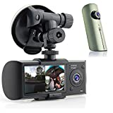"Indigi® HD Dual Camera Driving Recorder 2.7"" LCD Dash-Cam Car DVR w/ GPS"